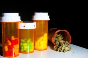 Prescription drugs in pill bottles
