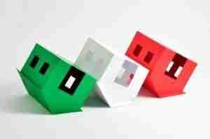 Three houses upside down.