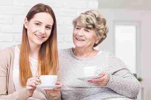 Grandmother visiting granddaughter
