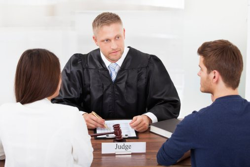 Couple in Court with Judge