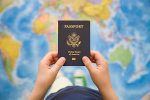 Child holding passport