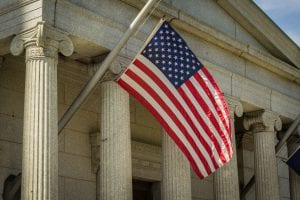 courthouse with american flag